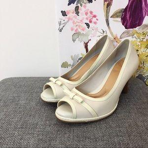 Nurture Cream Leather Peep Toe Heels